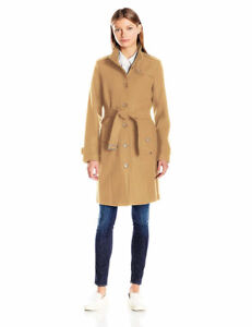 NEW Tommy Hilfiger Women's Single Breasted Wool Trench Coat L