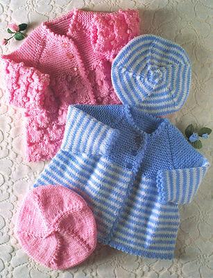 "Baby Matinee Coats & Beret 4 Ply & DK 14"" - 20""  Knitting Pattern"