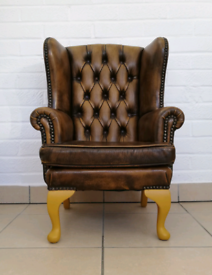 Vintage Brown Leather Child's Armchair