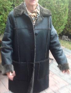Manteau fourrure, agneau rasé renversé cuir à l'extérieur (dame)