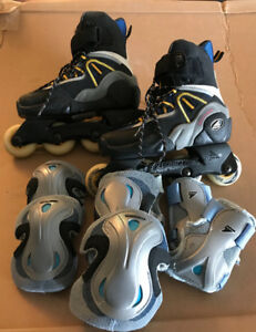 women rollerblades and pads