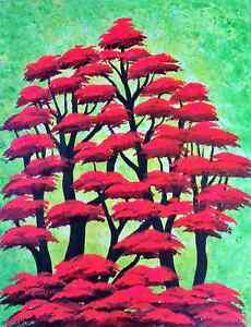 Tree painting, Red Forest, Original acrylic painting
