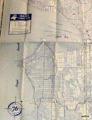 Party City Seattle (SEATTLE ca 1940s WORLD WAR II UNION 76 OIL COMPANY CITY MAP STREET &)
