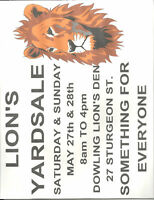 Lion Yardsale  Sat. & Sun May 27th & 28th
