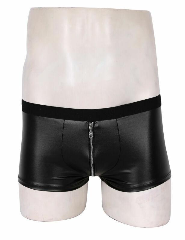 Mens Imitation Leather Boxer Briefs Shorts Low Waist Large Bulge Pouch Briefs