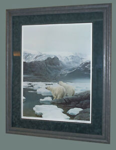 Robert Bateman Polar Bears at Baffin Island s/n framed
