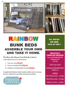 RAINBOW BUNK BEDS ASSEMBLE YOUR OWN AND TAKE IT HOME.