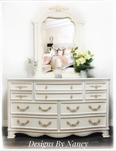 Lovely Refinished 10 Drawer French Provincial Dresser & Mirror!
