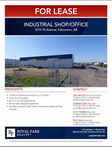 Industrial Shop/Office for Lease