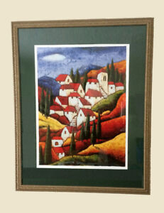 Village Hideaway Painting by Agnes Rathonyi with Frame
