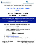 Parents of Young Adults Needed for Paid Focus Group ($40)