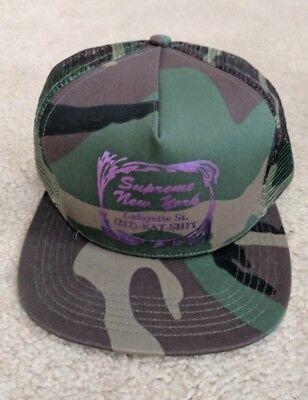 SUPREME Eat Sh*t Mesh Back 5-Panel Woodland Camo Black box logo camp cap F/W 16