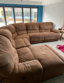 Large Brown Corner Sofa Electric Recliner