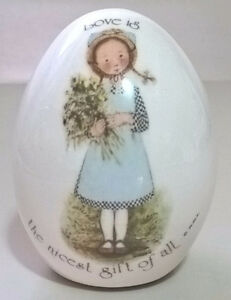 Holly Hobbie Egg, Porcelain Egg, Love is the nicest gift of all