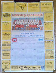 82-83 OHL KINGSTON CANADIENS Calendar w/ CKWS Oversize Schedules