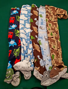 Size 2T Carters fleece footed PJs - 5 pairs