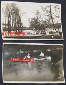 TWO CANADIAN PHOTOGRAPHS WITH CANOES, mkd. DALY, c1910