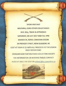 Military Artifacts & Antique Guns Displays & Sales Sat 8th July