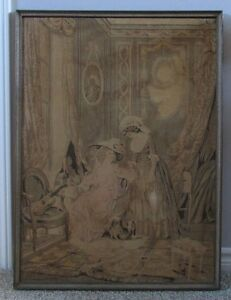 18th Century Antique 1778 dated Framed Wall Hanging Tapestry