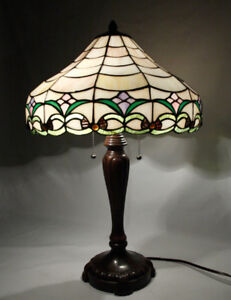 Table Lamps, Three in total Matching Stained Glass shades on two