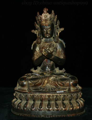 """13"""" Tibetan Buddhism Bronze Gilt Amitayus auspicious Goddess Bodhisattva Statue"""