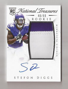 2015 National Treasures Stefon Diggs Rookie Autograph Patch Card