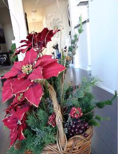 Christmas basket of poinsettias and Santa Strathcona County Edmonton Area image 3