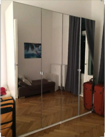 IKEA pax white wardrobe with 4 ikea vikedal mirror glass doors