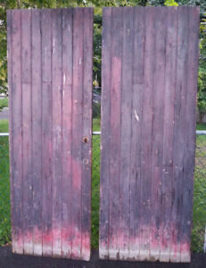 2 A PAIR of Antique Gothic Steam Punk Warehouse WOOD DOORS