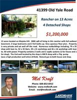 13 Acres with 4 Detached Workshops