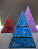Glass Mosaic Wood Pyramids with Two Compartments