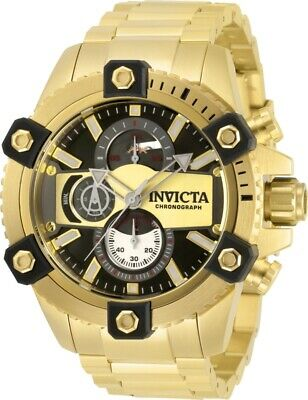 Invicta Mens Coalition Force Octane 48MM Chrono Blk Dial GoldTone Bracelet Watch