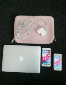 Apple MacBook Air + Phones (6s and 8 Plus)