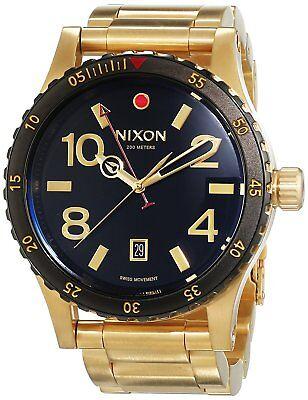 Nixon Men's A277513 Diplomat Gold-Tone Steel Black Dial Watch A277-513-00
