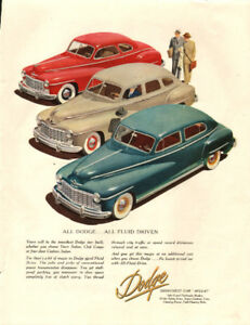 Large 1948 full page color ad for Dodge Automobiles