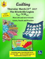 Quilting March 23rd       6pm- 9:30pm