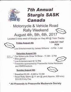 2017 STURGIS SASK MOTORCYCLE AND VEHICLE ROAD RALLY