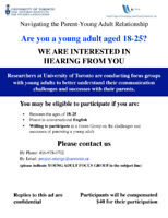 Are you a Young Adult (age 18-25)? Focus Group