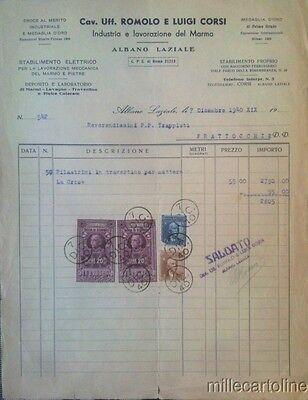§ FATTURA SU CARTA INTESTATA ROMOLO E LUIGI CORSI, INDUSTRIA DEL MARMO 1940