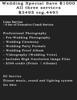 WEDDING PHOTOGRAPHY  SPECIAL $3495  SAVE $1000 reg. $4495