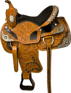 """16"""" LEATHER WESTERN SADDLE +TACK QUARTER HORSE SILVER SHOW NEW"""