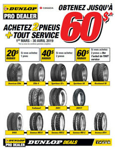 Dunlop Motorcycle tires PROMO from March-01 to April-30-2019