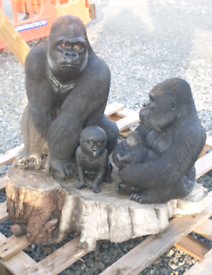 Gorilla family set of animals stone garden ornament