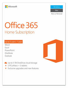 Microsoft Office 365 Home Card Key - 5 Users Windows PC Macs