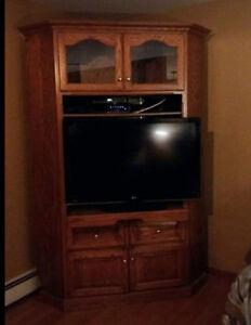 Solid Oak Corner Cabinet w/ swivel TV stand