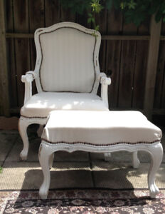 Refinished vintage Queen Anne style chair and foot stool