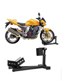 Different styles of Motorbike wheel stands chock straps and quad lifts