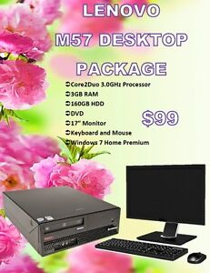 DESKTOP SPECIAL - Lenovo M57 w/Monitor, Keyboard, Mouse $99!