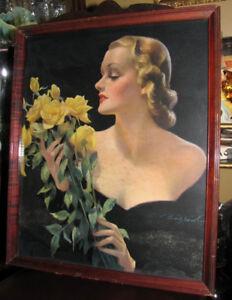 Vintage Lithographie Imprimé Encadré signé Bradshaw Print