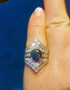 VERY RARE GORGEOUS, STOP IN YOUR TRACKS Sapphire & Diamond Ring
